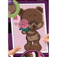 Вышивка крестиком на канве  Cross Stitch: Мишка с розой