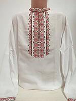 Детская белая хлопковая рубашка для мальчика с красной  вышивкой Ручеек Piccolo L