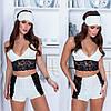 Женская пижама топ и шортики с отделкой кружева 42-44,46-48, фото 2