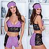 Женская пижама топ и шортики с отделкой кружева 42-44,46-48, фото 5
