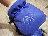 Муфта варежки теплые рукавицы для коляски синие електрик, фото 1