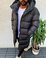 Зимняя мужская куртка с капюшоном черная теплая удлиненная Турция. Живое фото
