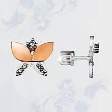 Серьги-гвоздики (пусеты) из серебра с золотыми вставками