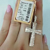 Крестик из серебра с золотыми вставками