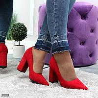 Женские нарядные туфли на каблуке красного цвета, фото 1