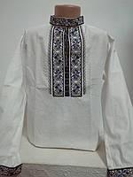 Детская белая хлопковая рубашка для мальчика с синей вышивкой Киевлянин - 2 Piccolo L