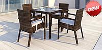 Комплект для кафе плетений Стіл Lepre 80 x80см  + 4 крісла Falko