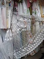 Гардина біла з вишивкою фатинова /Тюль белая с вышивкой на сетке, фото 1