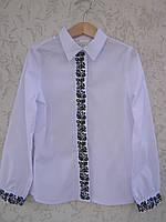 """Вышитая рубашка для девочки """"Мальовнича"""" потайная застежка( арт. СА1-86.0.6 )"""