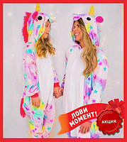 Тёплая пижама кигуруми единорог для девочки, домашний комбинезон слип