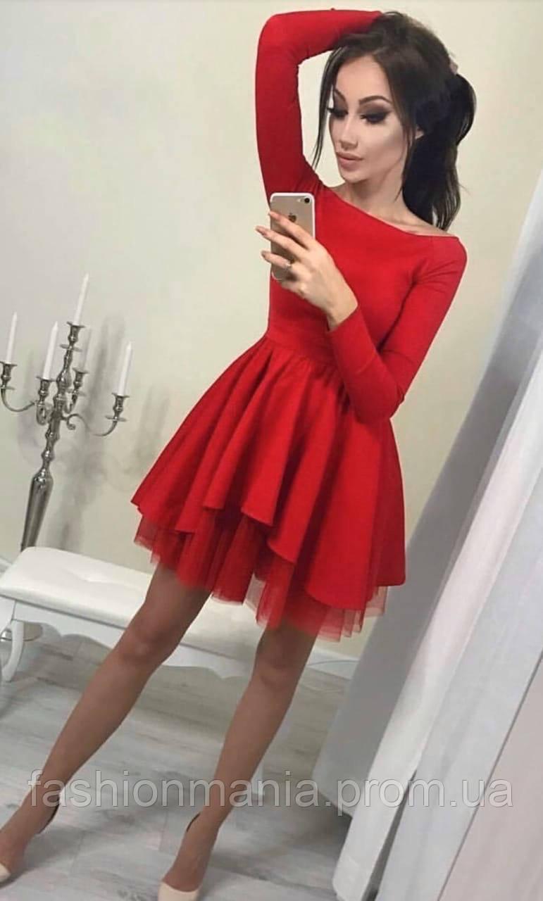 Платье женское с фатином красное, чёрное