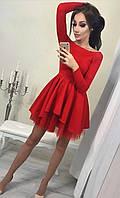 Платье женское с фатином красное, чёрное, фото 1