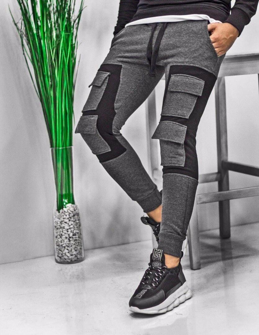 Чоловічі спортивні штани карго спортивки сірі з чорним. Живе фото. Репліка