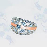 Кольцо из серебра с золотыми вставками, фото 1