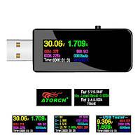 USB тестер 13в1 тока напряжения емкости мАч Вт Втч D+ D- AtorchU96