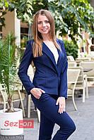 Костюм женский классический брюки и пиджак - Темно синий
