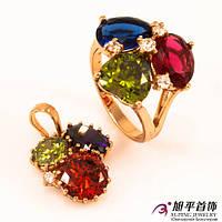 Комплект позолота кольцо+кулон большие цветные камни