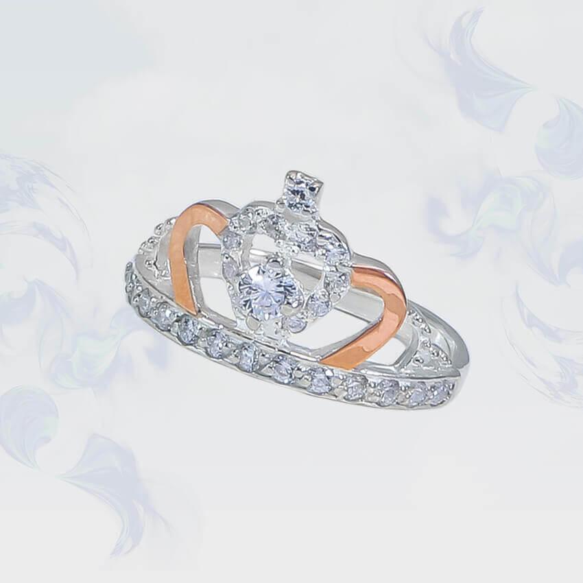 """Кольцо из серебра с золотыми вставками """"Корона"""""""