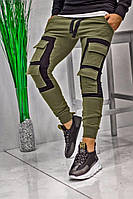 Мужские спортивные штаны карго спортивки хаки с черным. Живое фото. Реплика