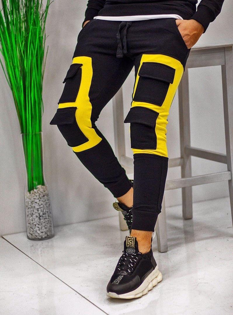 Чоловічі спортивні штани карго спортивки чорні з жовтим. Живе фото. Репліка