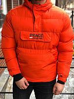 Утепленный анорак мужской оранжевого цвета