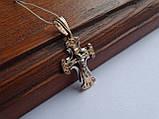 Золотой крест с белым цирконием, фото 2