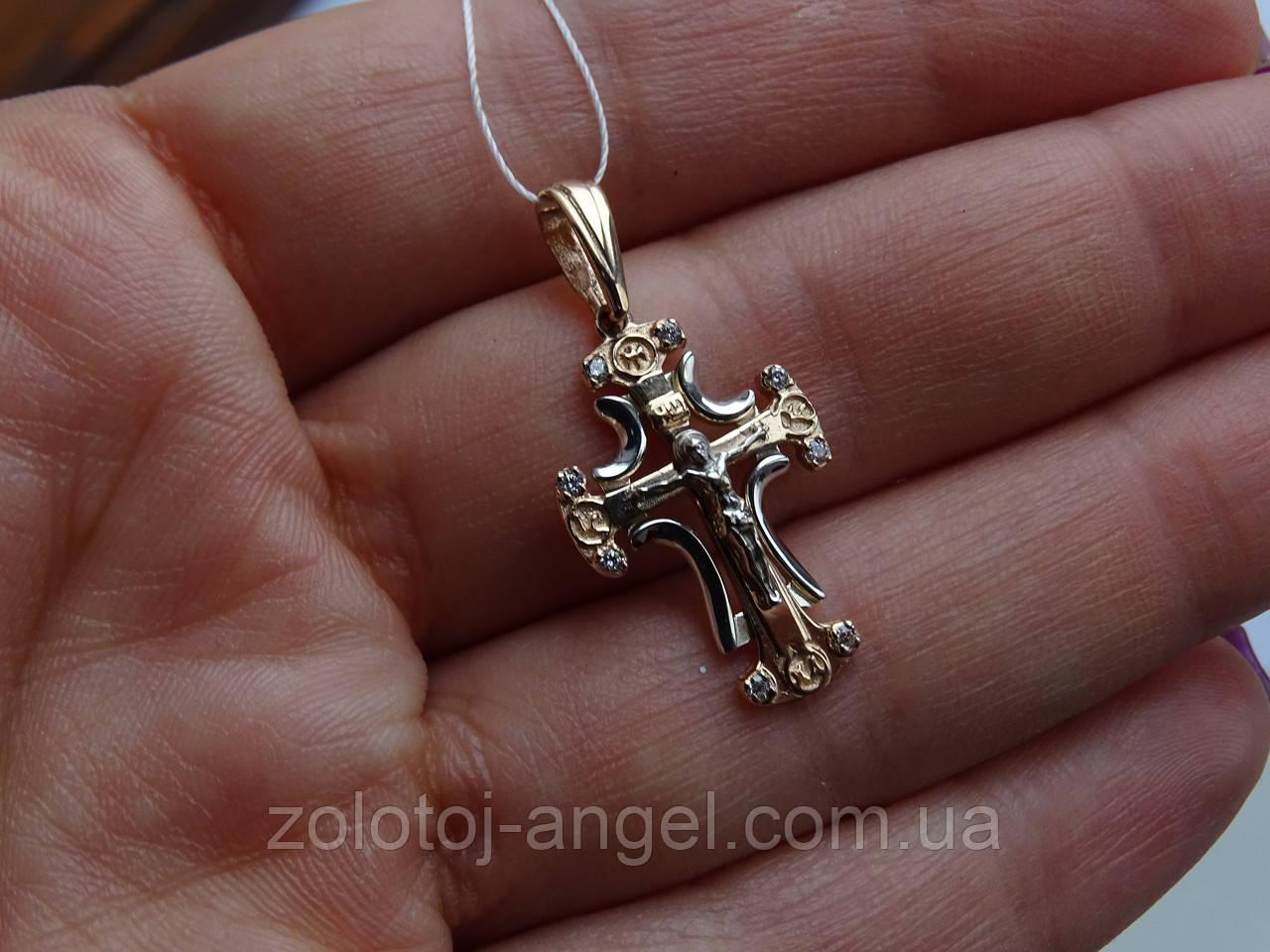 Золотой крест с белым цирконием