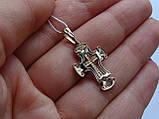 Золотой крест с белым цирконием, фото 5