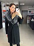Женское зимнее шерстяное пальто с меховым воротником (в расцветках), фото 3