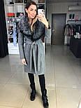 Женское зимнее шерстяное пальто с меховым воротником (в расцветках), фото 2