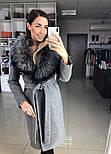 Женское зимнее шерстяное пальто с меховым воротником (в расцветках), фото 8