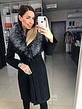 Женское зимнее шерстяное пальто с меховым воротником (в расцветках), фото 4