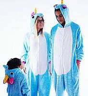 Детский костюм пижама Кигуруми единорог голубой, фото 1