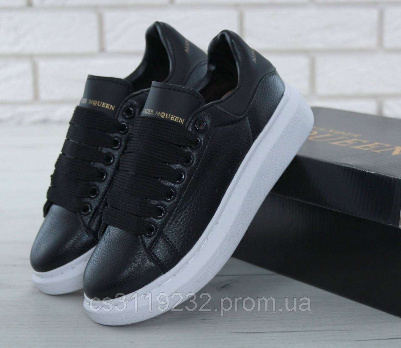 Женские кроссовки Black Leather (черные)
