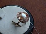 Золотые серьги с культивированым жемчугом и белым цирконием, фото 9