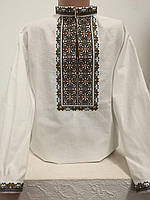 Детская белая хлопковая рубашка для мальчика с коричневой вышивкой Стецько Piccolo L
