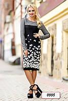 Платье 12-0995 - черно-белый/серый: M L XL XXL, фото 1