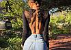 Жіночий сексуальний мереживний боді з довгим рукавом, з відкритою спиною Macheda black, фото 2