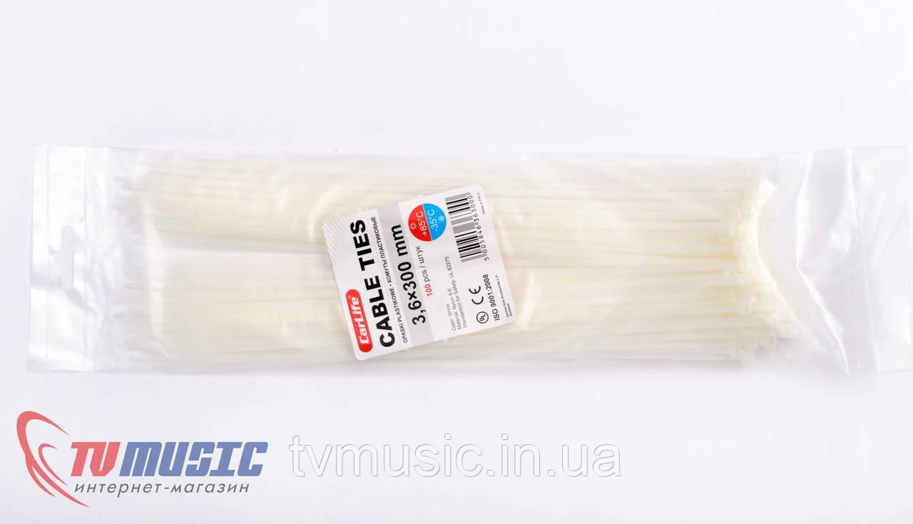 Хомуты пластиковые Carlife 3,6 x 300 mm (Белые)
