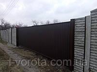 Сдвижные ворота ш7000, в2000 (дизайн профлист), фото 2