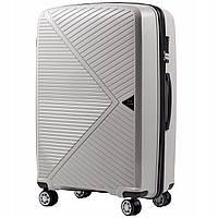 Дорожный чемодан пластиковый полипропилен Wings PP06 большой на 4 колесах светло серый