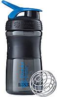 Шейкер Blender Bottle SportMixer MINI Black-Cyan (591 мл.) - МИНИ Темно-голубой