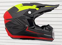 Шлем кроссовый  Кени серо-красно-салатовый матовое покрытие, фото 1