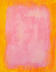 Картина Зефирка, Желтый и Розовый живопись масло холст галерейная натяжка 70х90 см