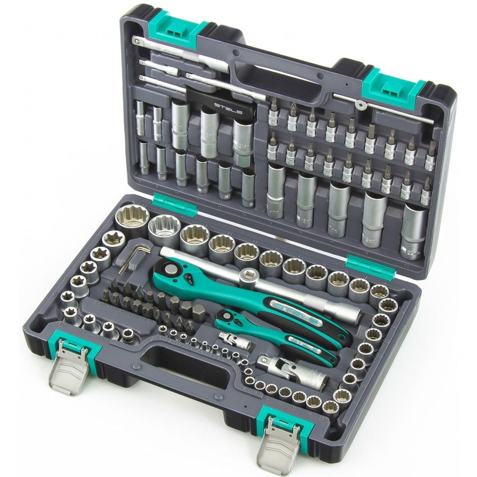 Набор инструментов Stels 14122, 1/2, 1/4, CrV, пластиковый кейс, двенадцатигранные головки
