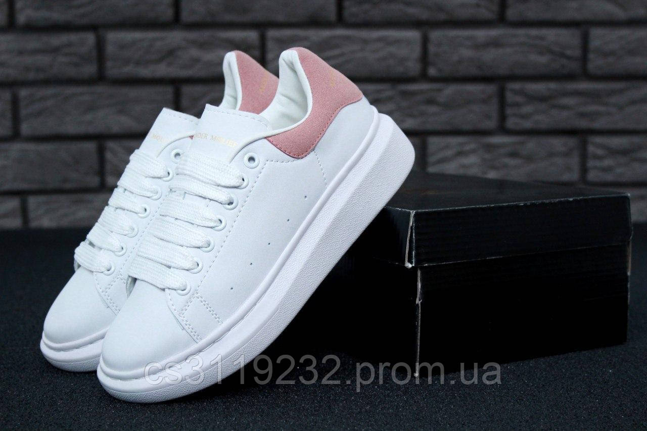 Женские кроссовки White Pink (белые)