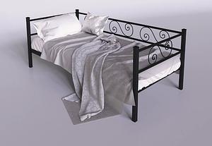 Ліжко-диван Амарант Тенеро чорна 90х200 см Лофт металева односпаьная