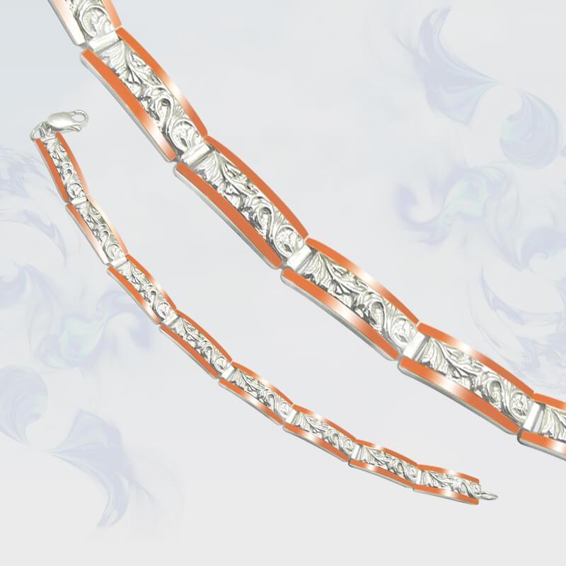 Браслет из серебра с золотыми вставками