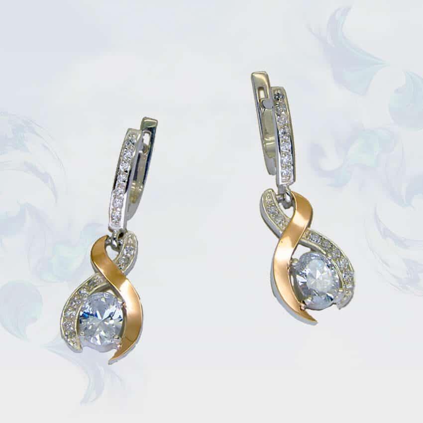 Серьги из серебра с золотыми вставками