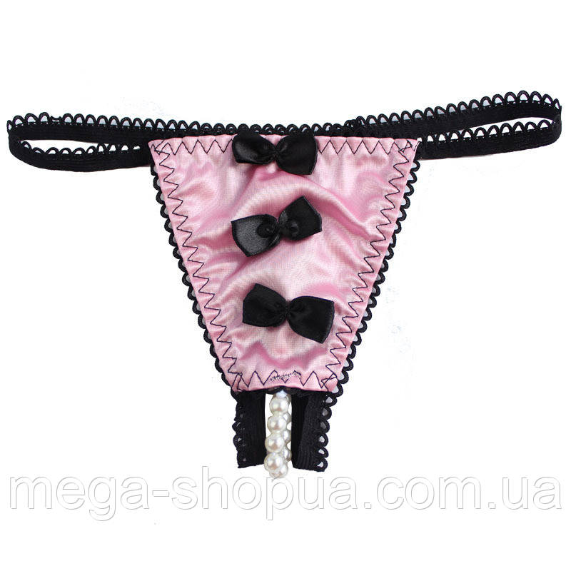"""Эротические стринги с жемчужной полоской и бантиками """"Black & Pink"""" S/M"""